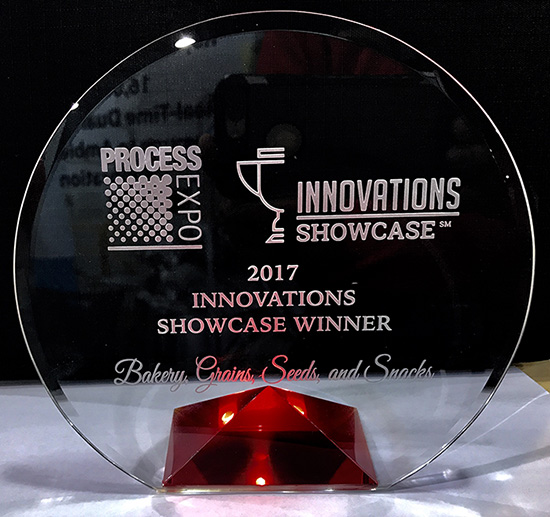 The Innovation Showcase Award Brimrose received at Process Expo 2017