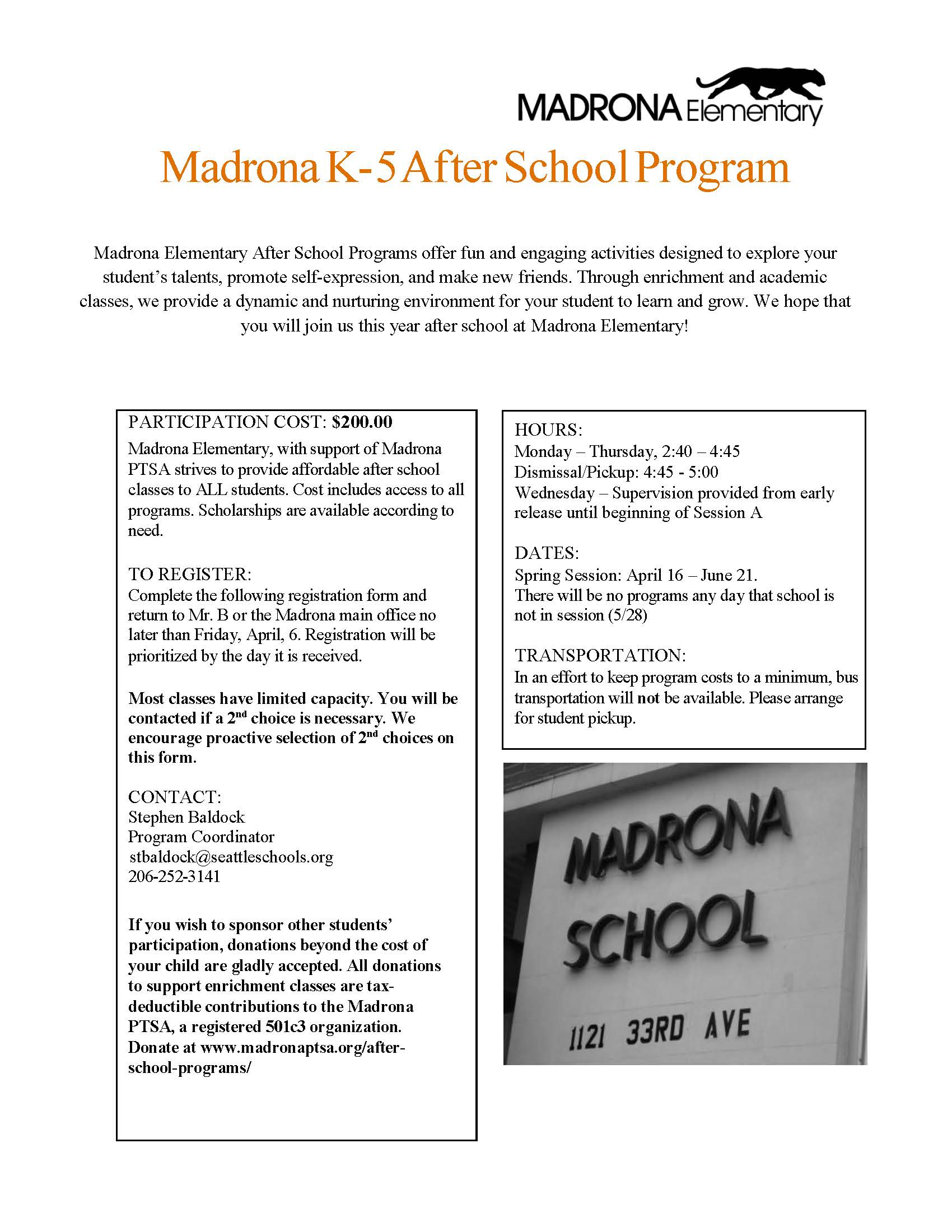 After school program schedule madrona panther partners thecheapjerseys Gallery