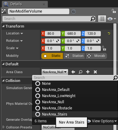 Navigation modifiers and links in ue4 vikram codes the moment we do that however the stairs go back to green this is because there is currently a bug in ue4 regarding custom nav areas malvernweather Choice Image