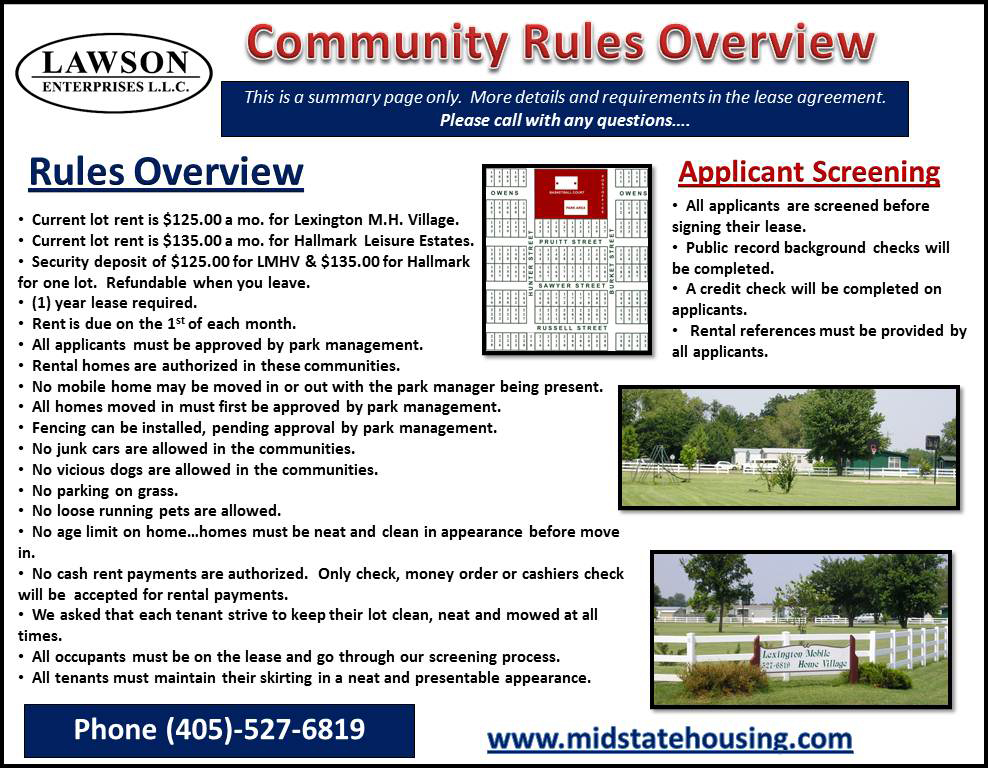 Purcell Moblie Home Park Mid State Manufactured Housing Corp
