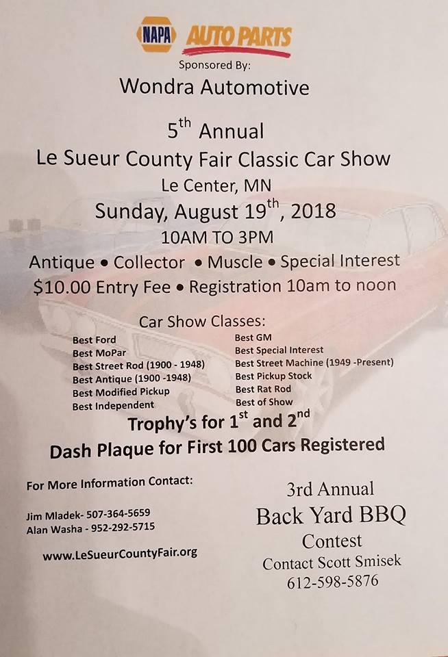 Th Annual Classic Car Show Le Sueur County Fair - Car show mn