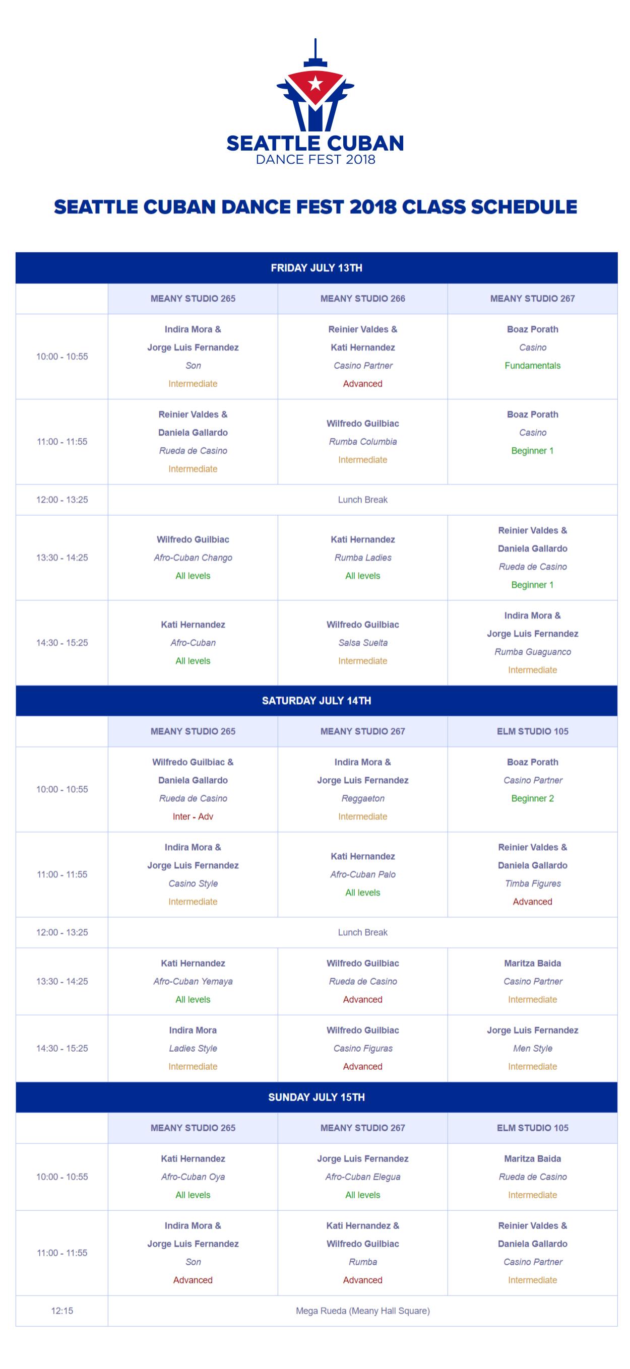 class schedule — seattle cuban dance fest 2019