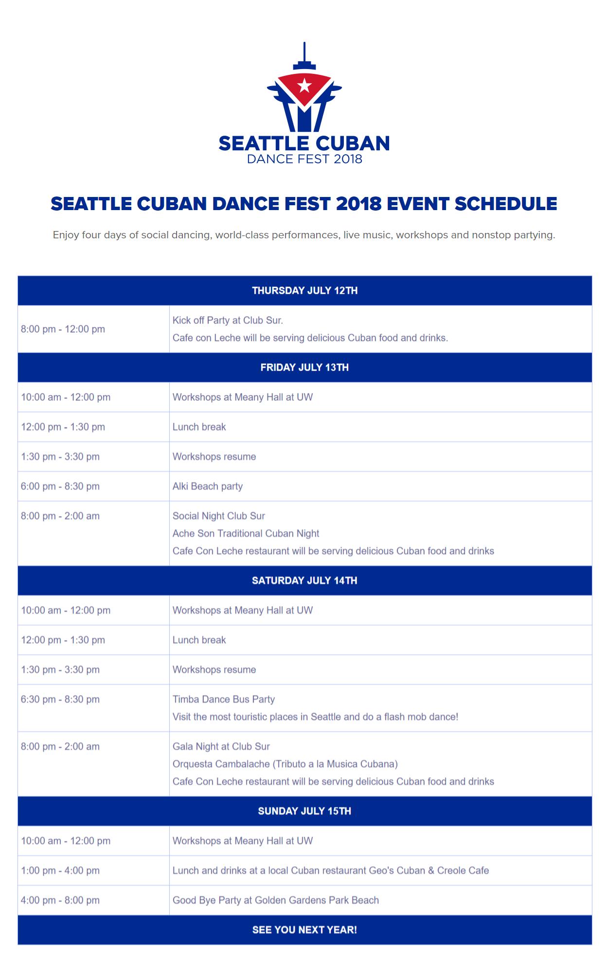 event schedule seattle cuban dance fest 2018