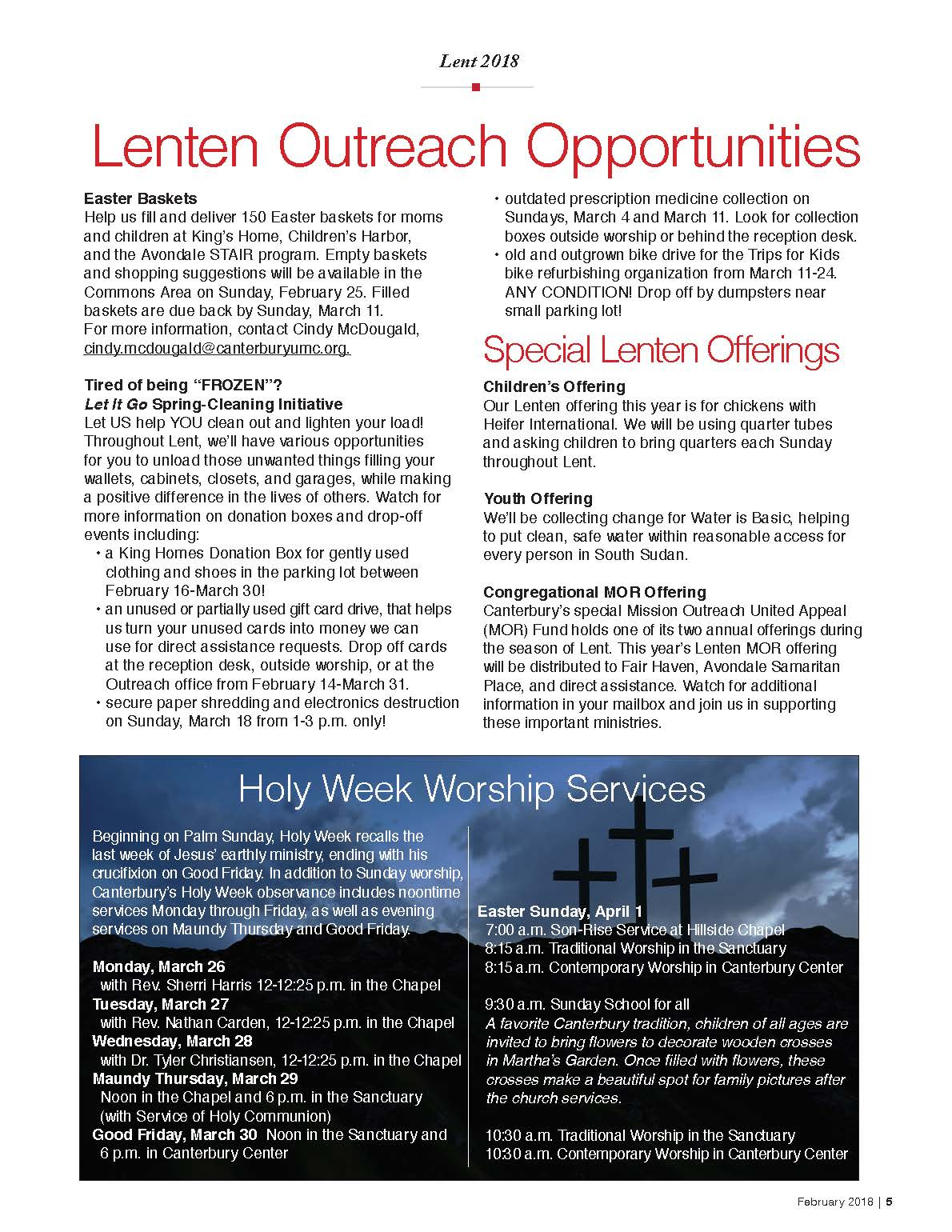 Lent 2018 canterbury united methodist church service opportunities izmirmasajfo Gallery