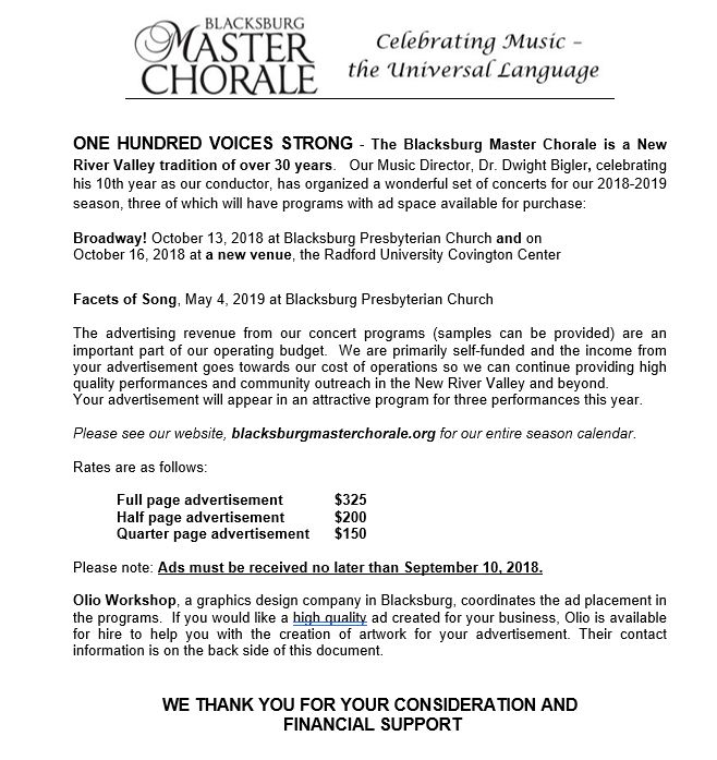 Support — The Blacksburg Master Chorale