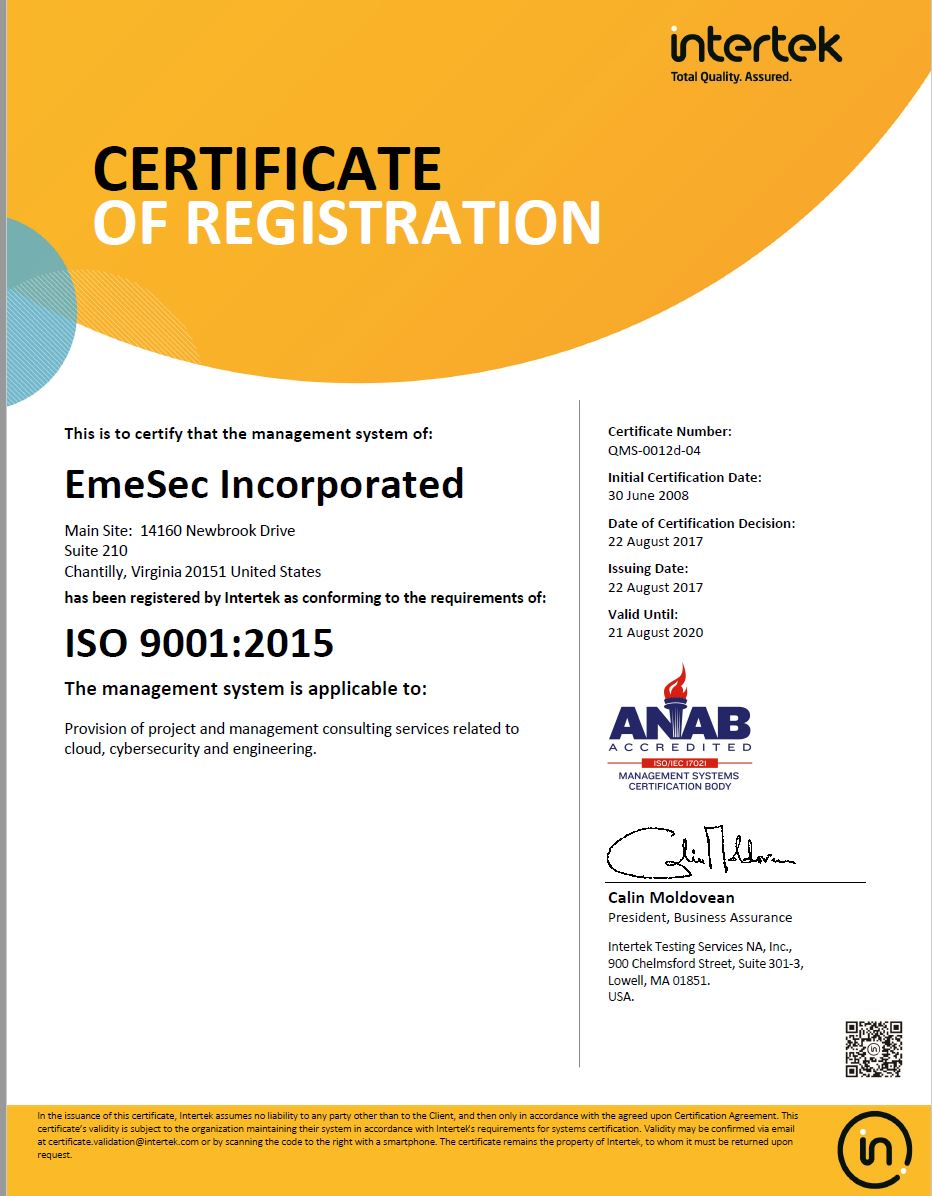 Certifications — EmeSec Incorporated