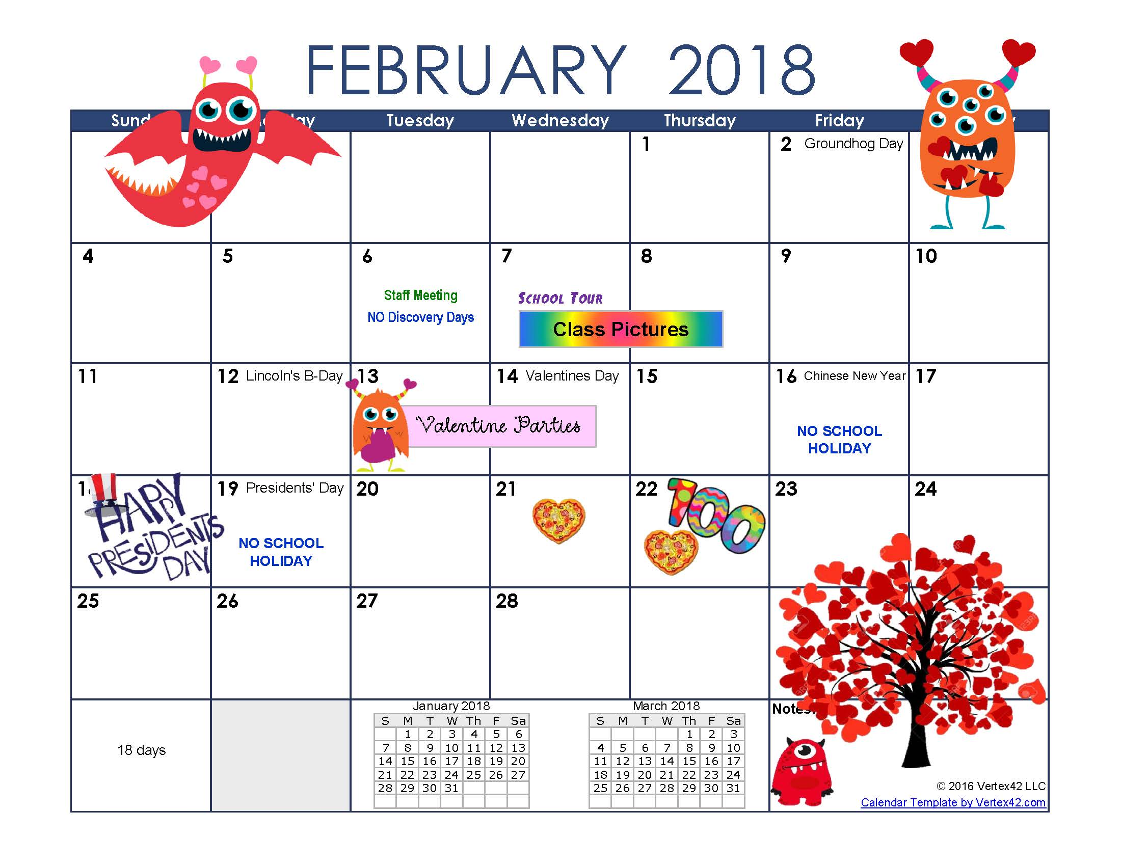 Calendar 2018 February Chinese New Year – Printable ...