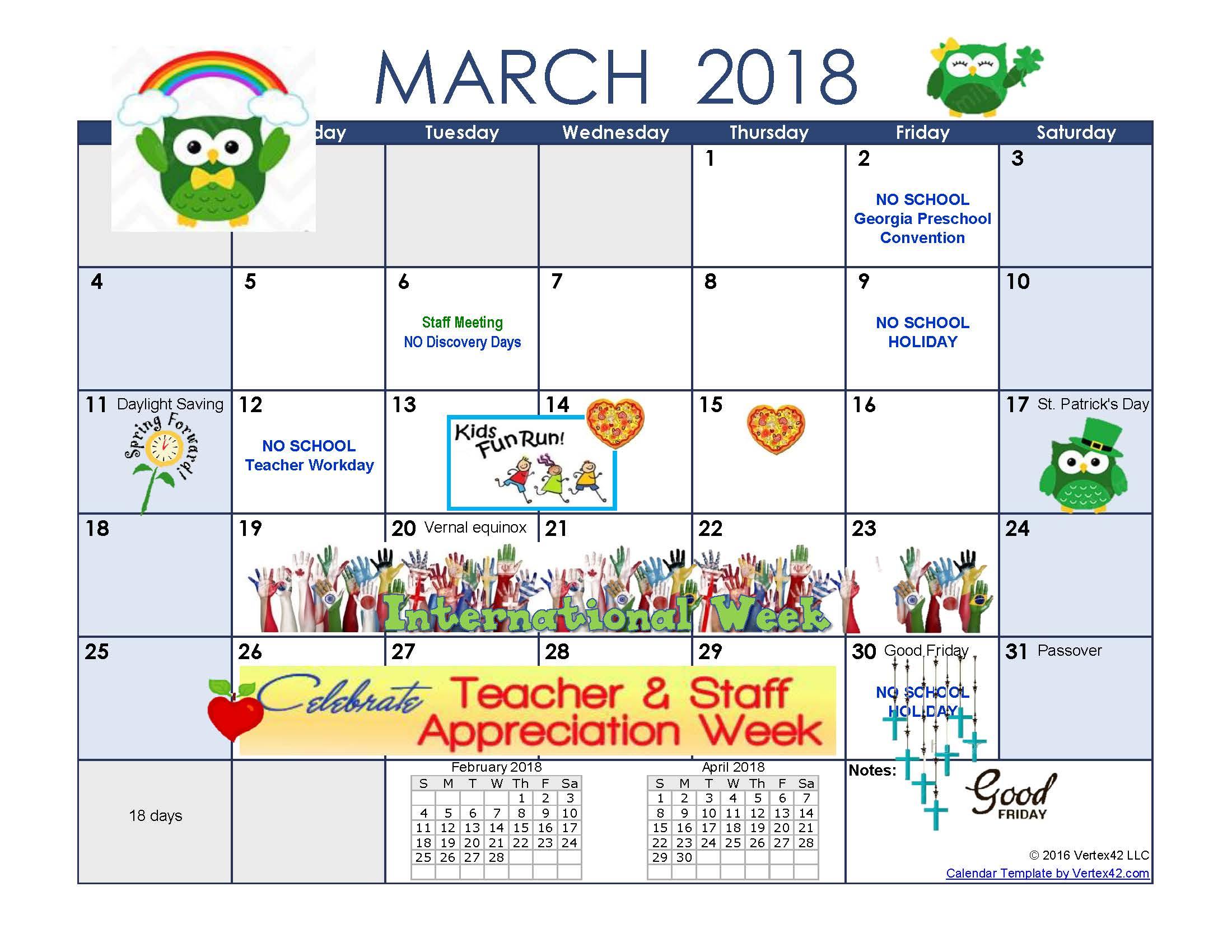 February 2018 Calendar Kindergarten : Teacher corner — sandy springs umc
