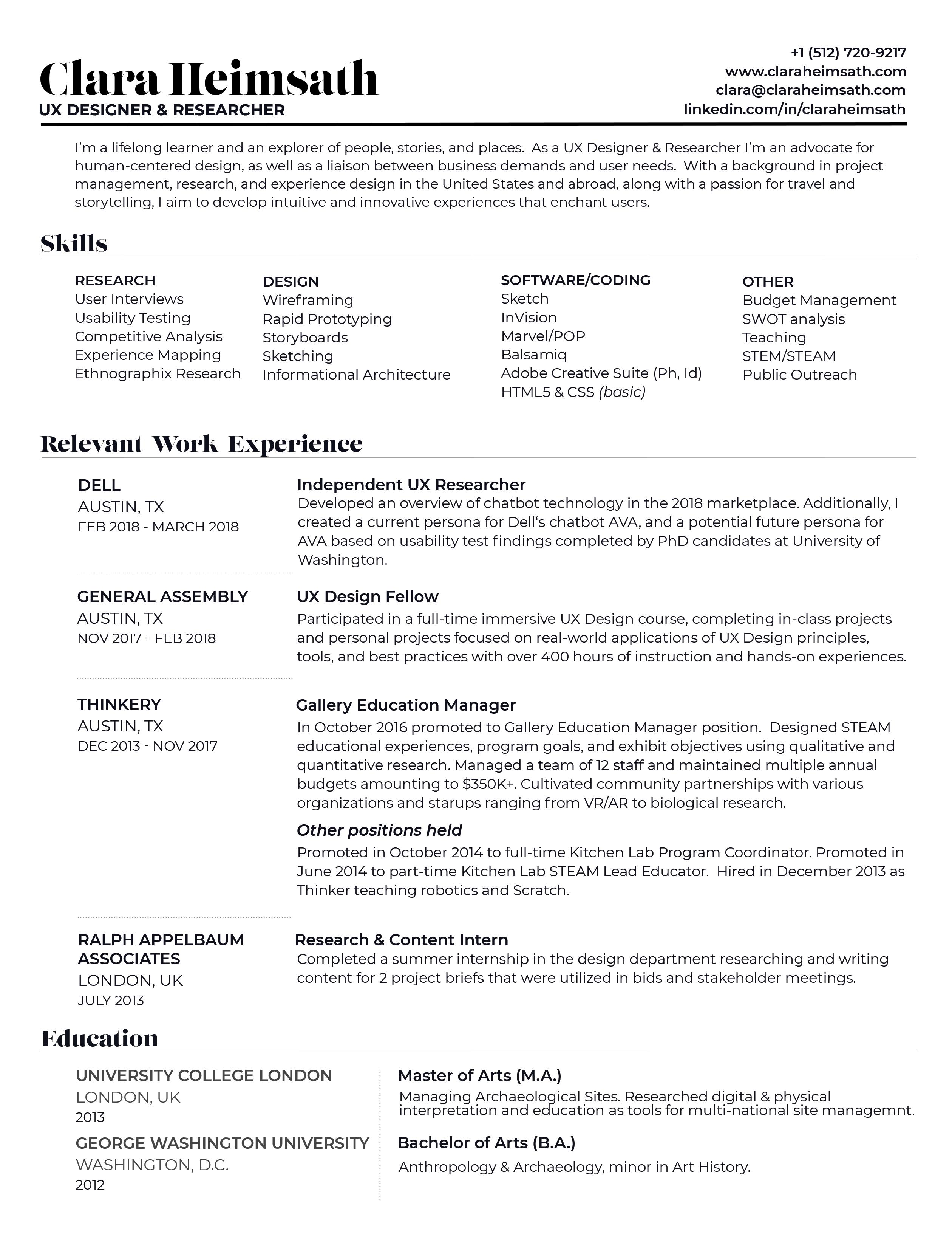 Resume — Clara Heimsath