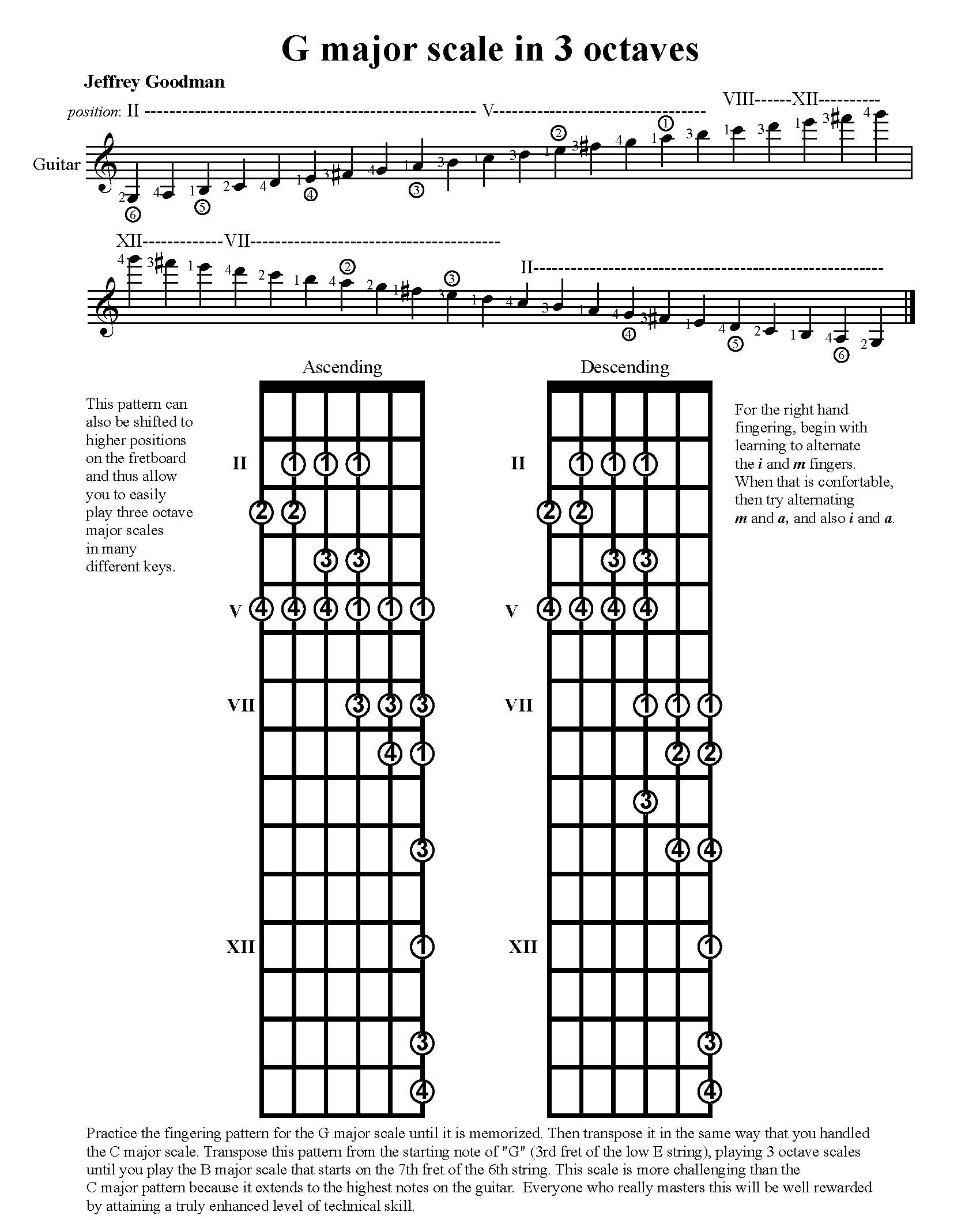 image about Printable Guitar Scales titled Significant Scales - 2 and 3 Octave Transposable Models
