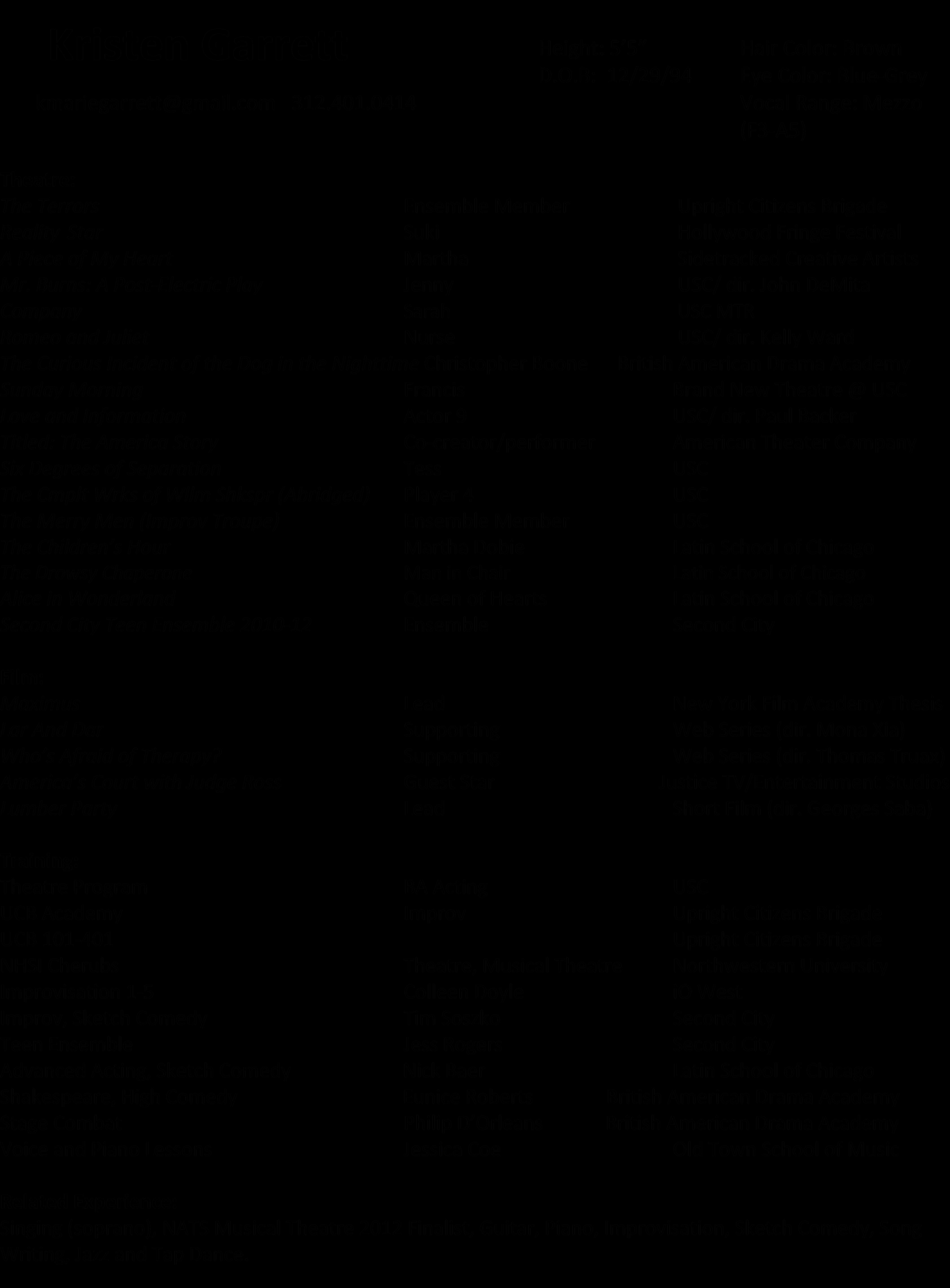 Resume — Kristen Garrett