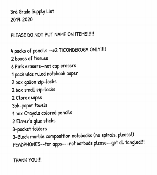 BES 2019-2020 Supply Lists — Avery County Schools