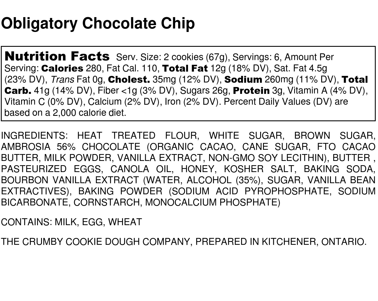 ingredients occ — The Crumby Cookie Dough Co