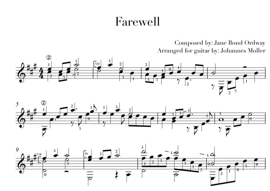 Farewell PDF (download) STAFF + TAB — Johannes Möller