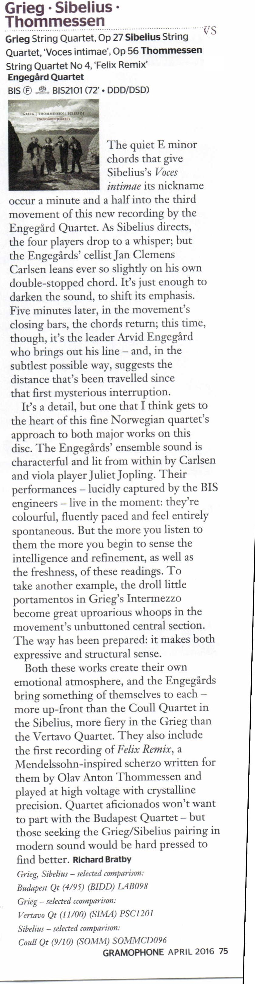 Great reviews for the Engegård Quartet in Gramophone, BBC