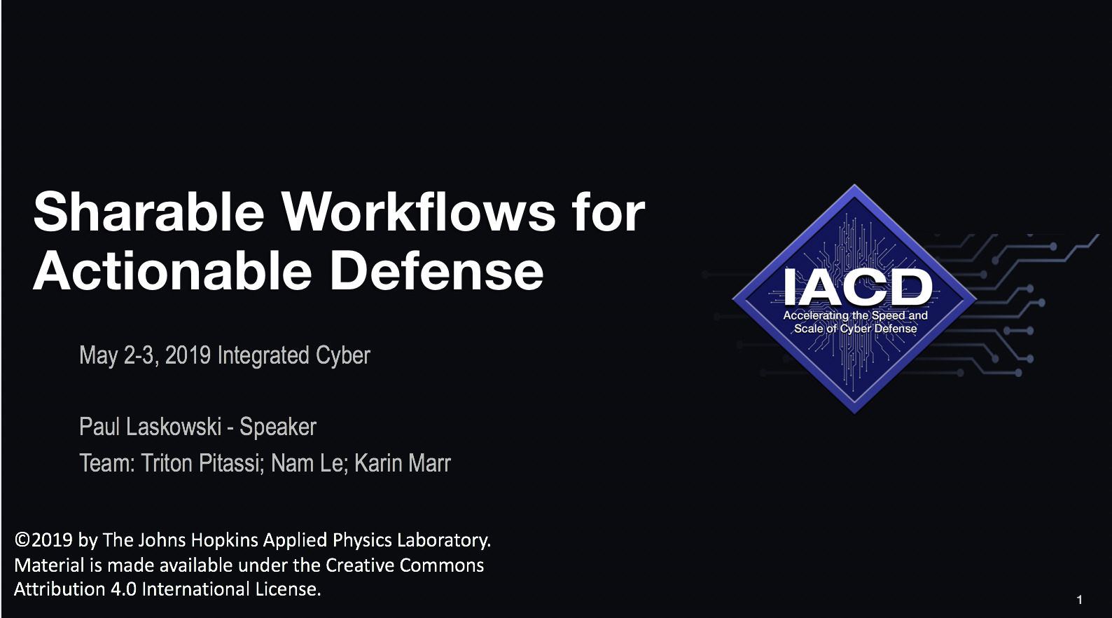 May 2019 Integrated Cyber — IACD
