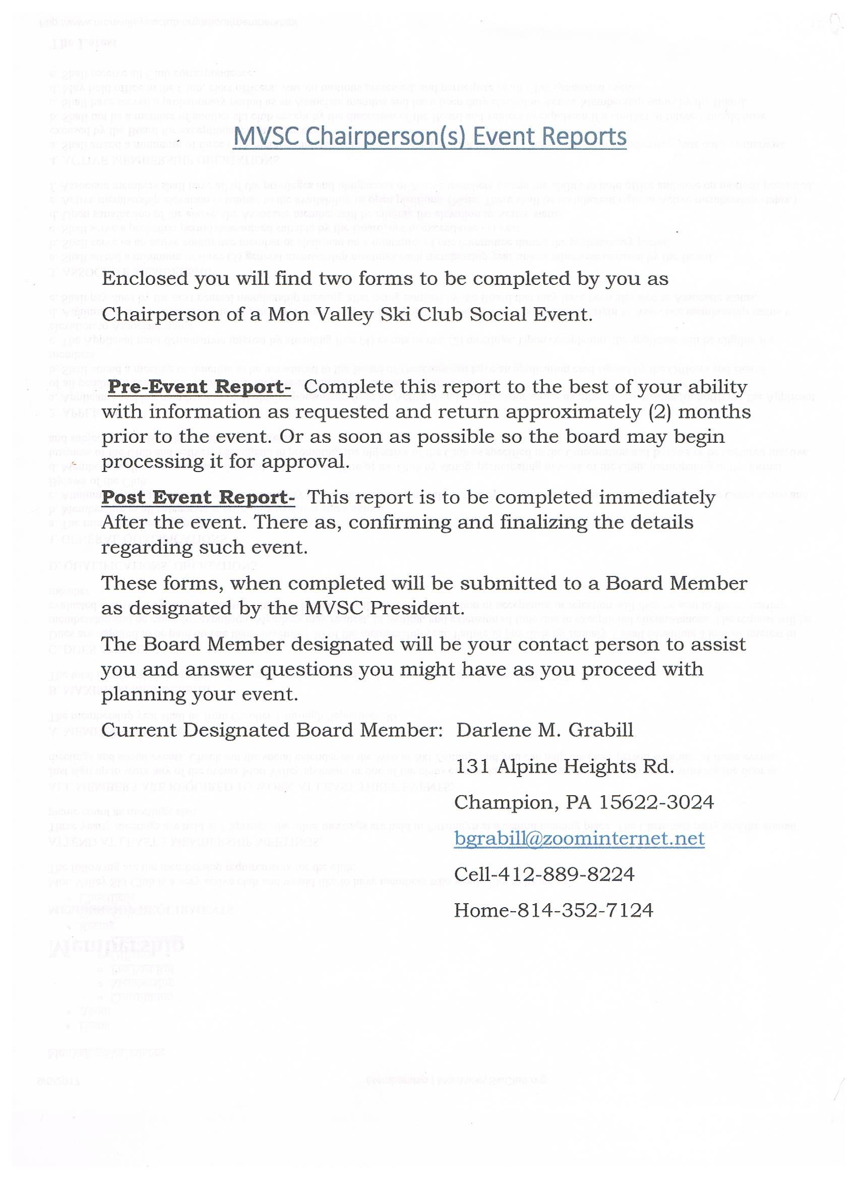 PRE/POST REPORT — Mon Valley Ski Club