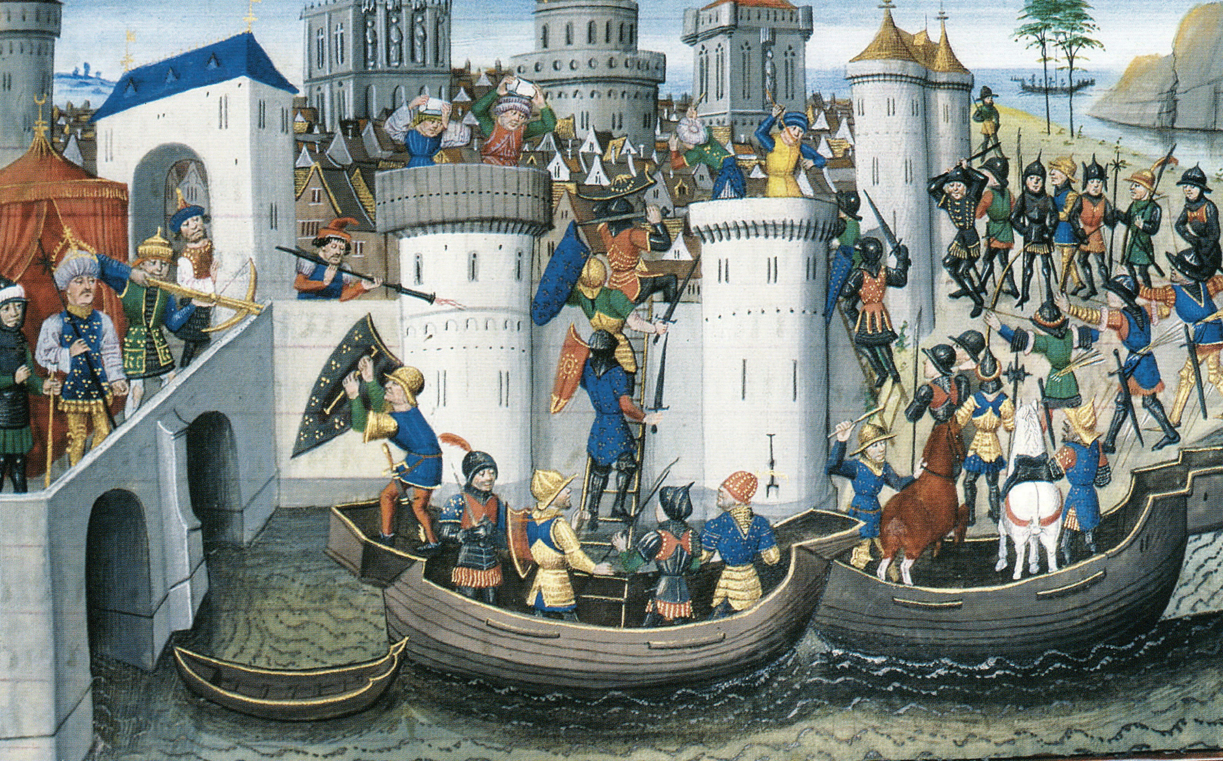 Painting of the Conquest Of Constantinople By The Crusaders In 1204