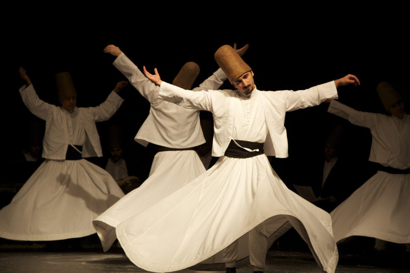 Traditional whirling dervishes whirling