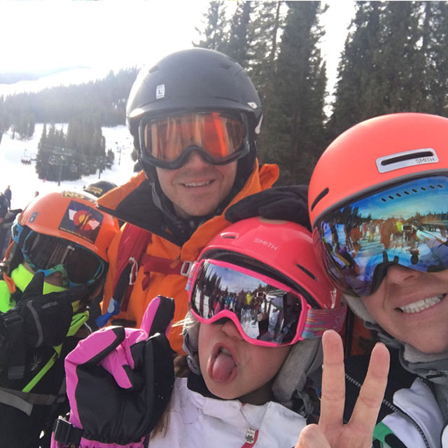 john and family on the ski lift
