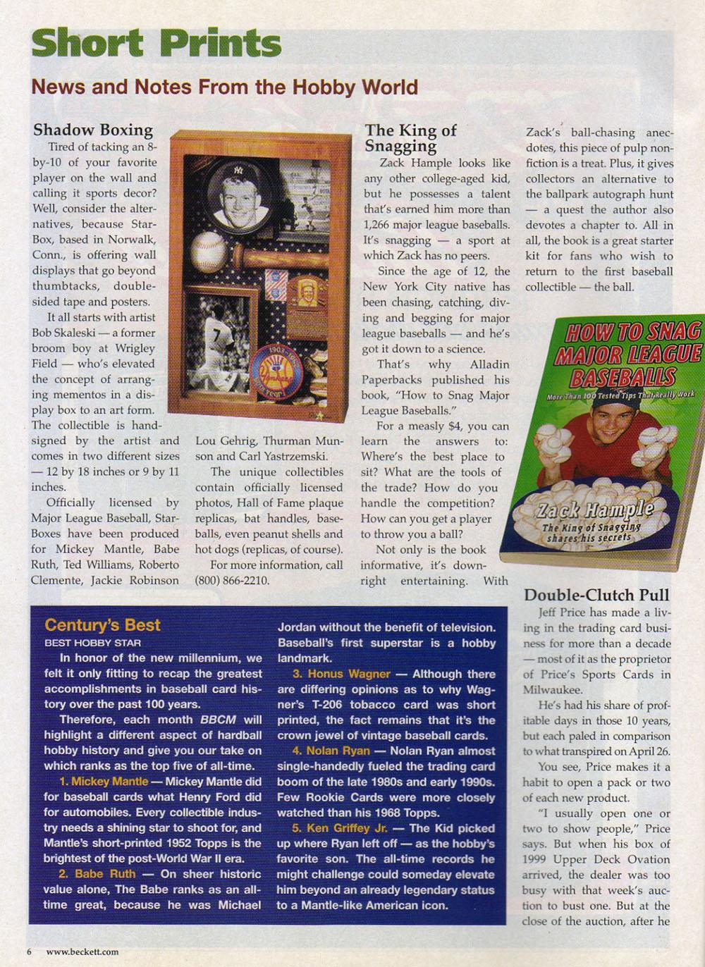 Beckett Baseball Card Monthly October 1999 Zack Hample