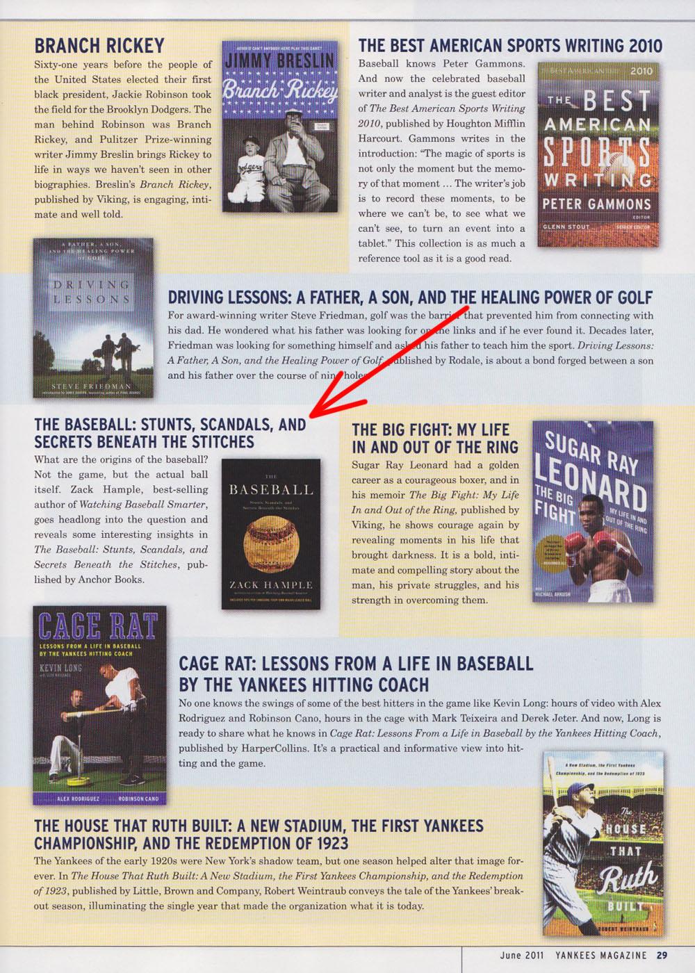 Yankees Magazine June 2011 Zack Hample