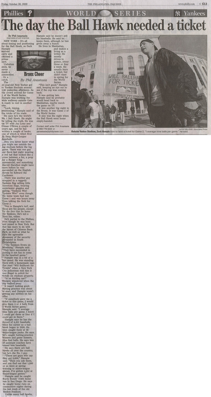 Philadelphia Inquirer October 30 2009 Zack Hample