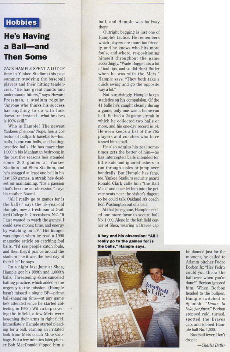 Inside Sports December 1996 Zack Hample