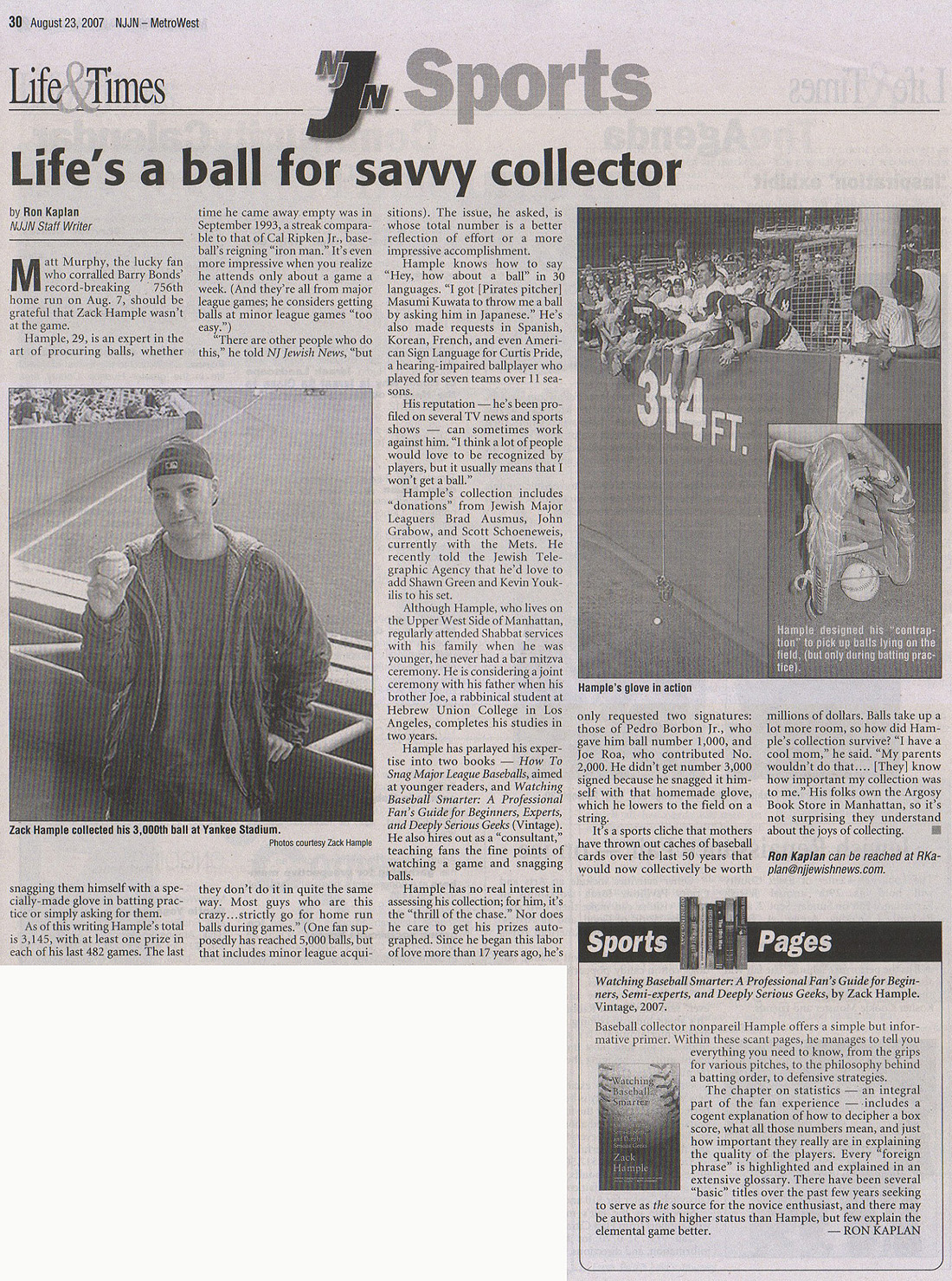 New Jersey Jewish News August 23 2007 Zack Hample