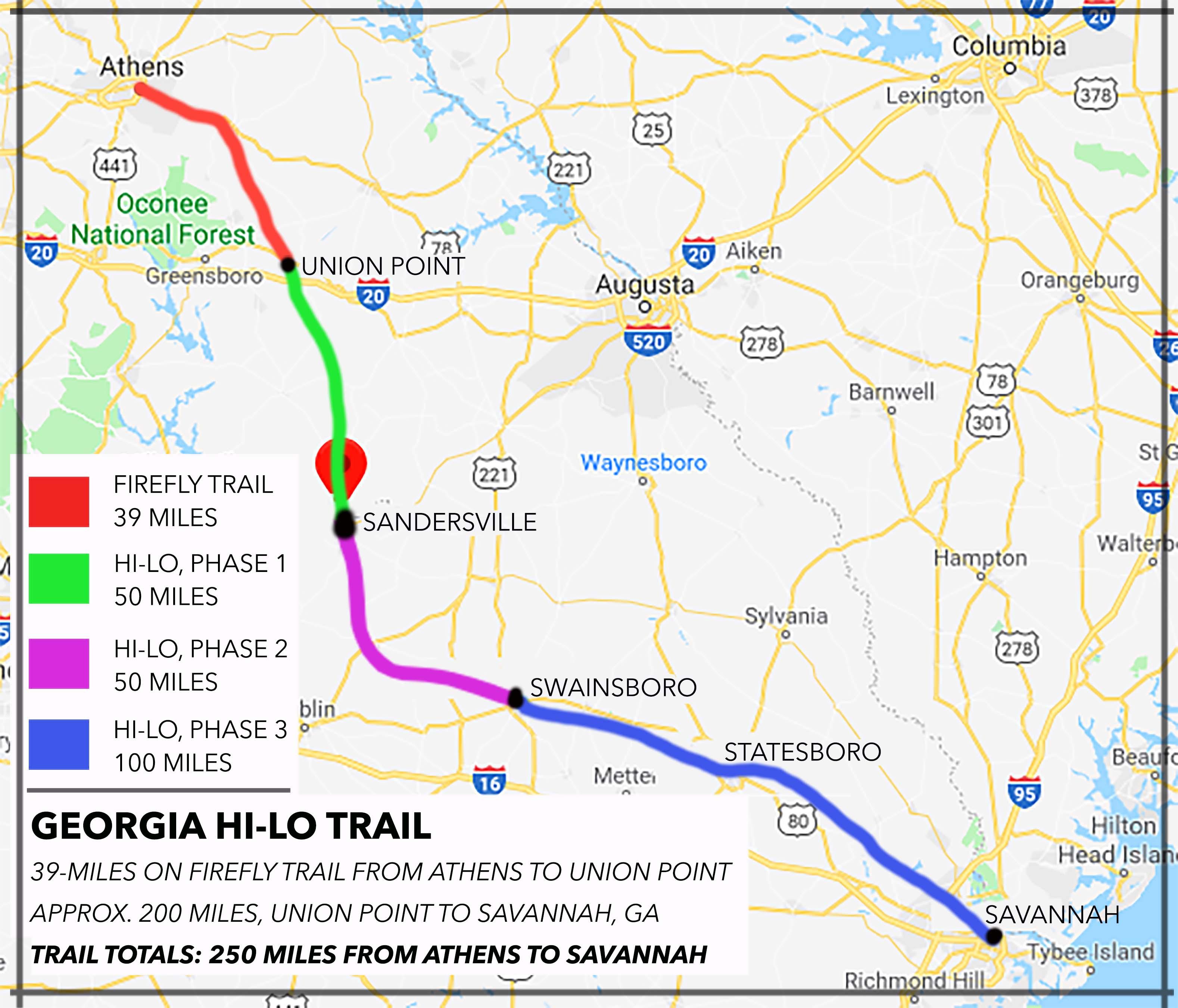 Map Of Georgia On 95.Georgia Hi Lo Trail
