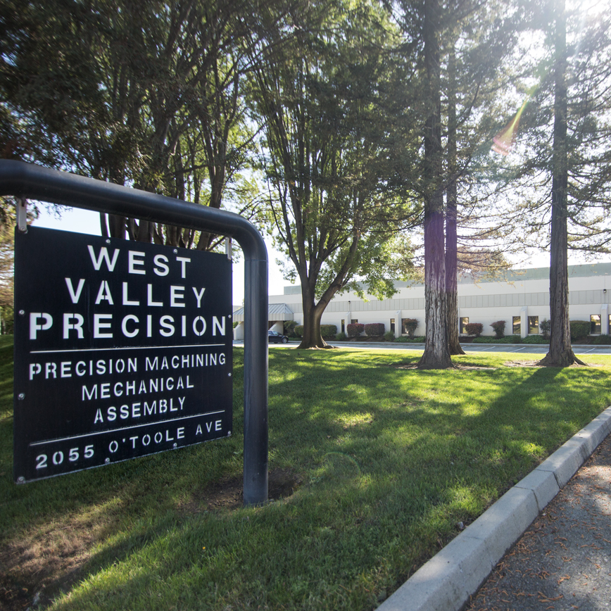 West Valley Precision sign in front of its machine shop facility in Silicon Valley.