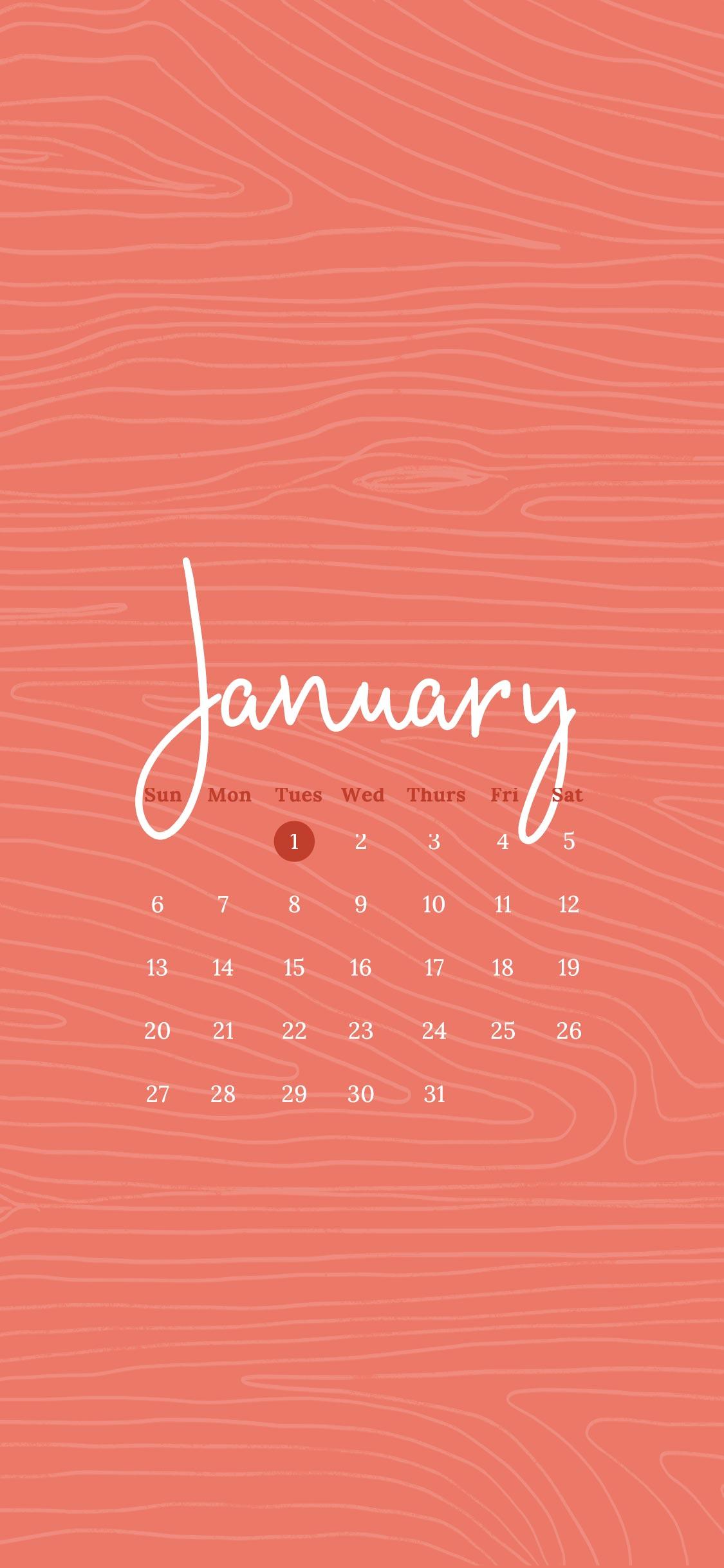 Free Wallpaper For January 2019 Six Leaf Design