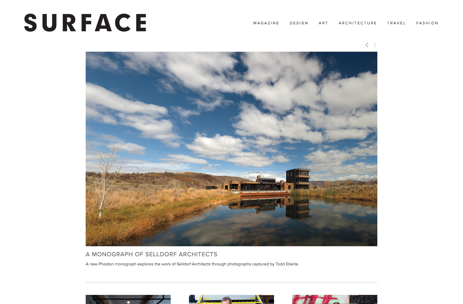 screenshot showing a live demo of Surface magazine site created using Squarespace