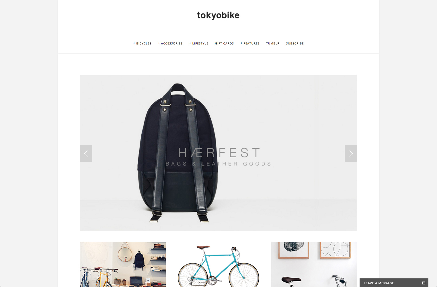screenshot showing a live demo of Tokyo Bike site created using Squarespace