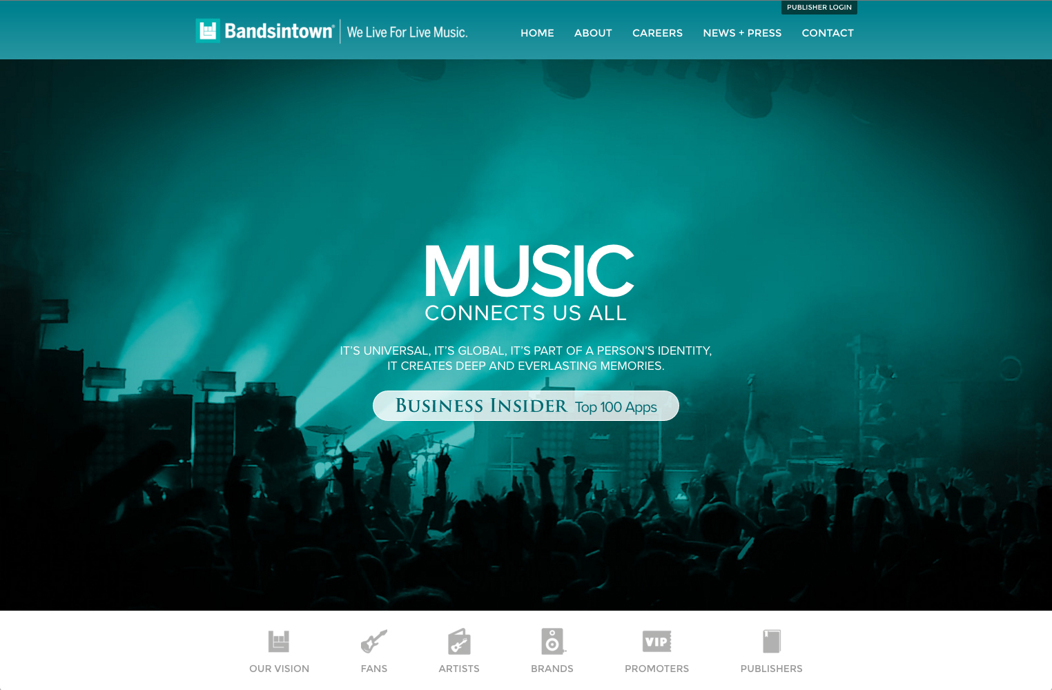 screenshot showing a live demo of Bandsintown site created using Squarespace