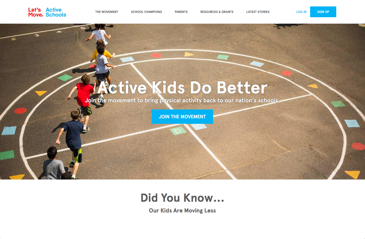 screenshot showing a live demo of Lets Move Active Schools site created using Squarespace