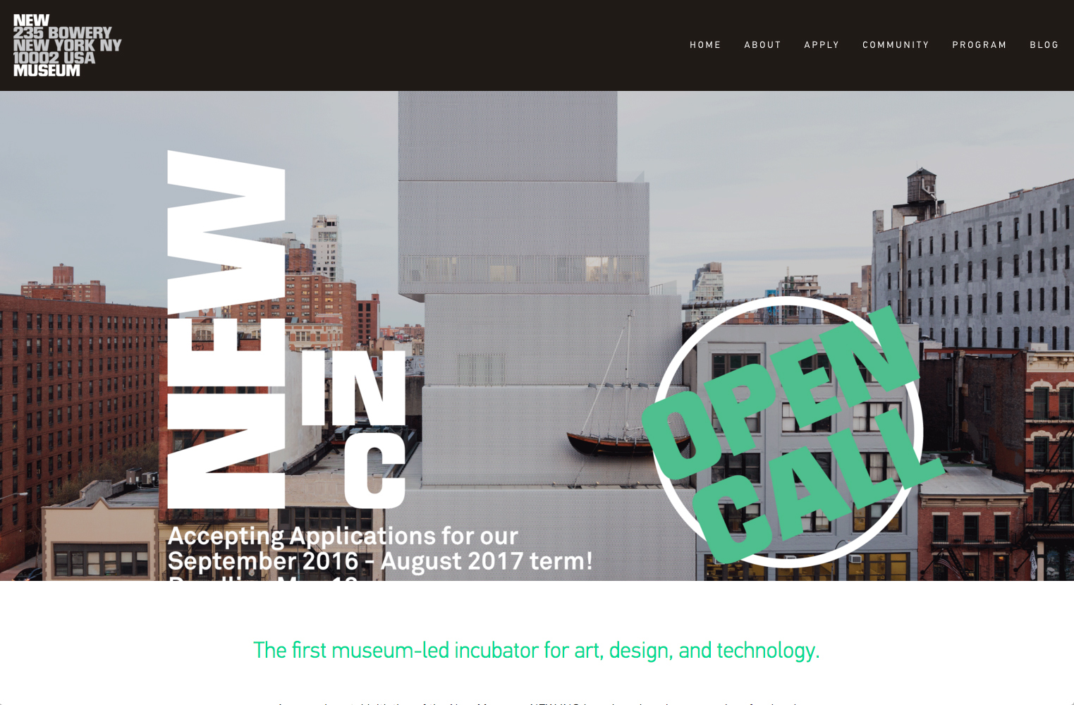 screenshot showing a live demo of New Inc site created using Squarespace
