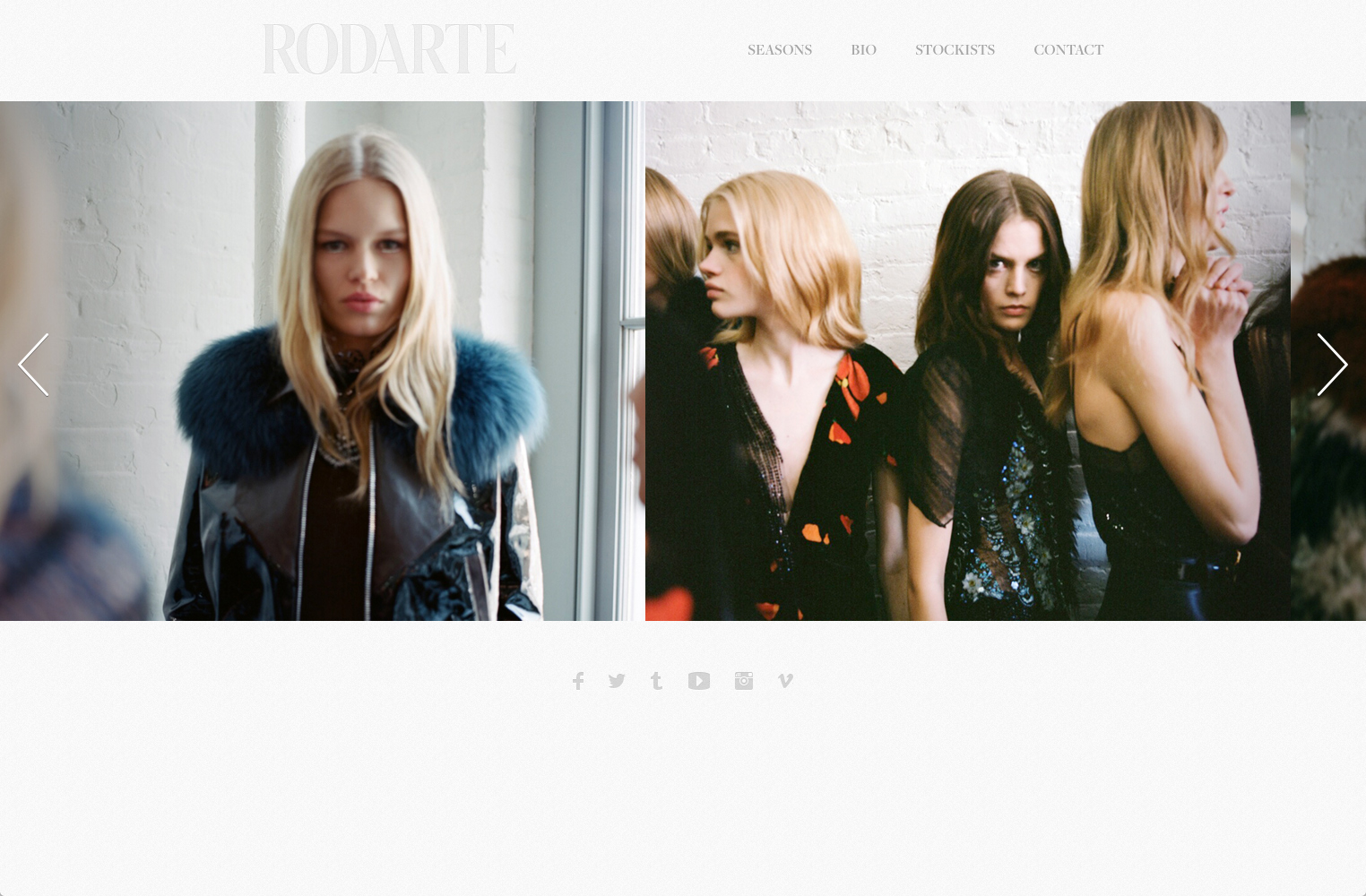 screenshot showing a live demo of Rodarte site created using Squarespace