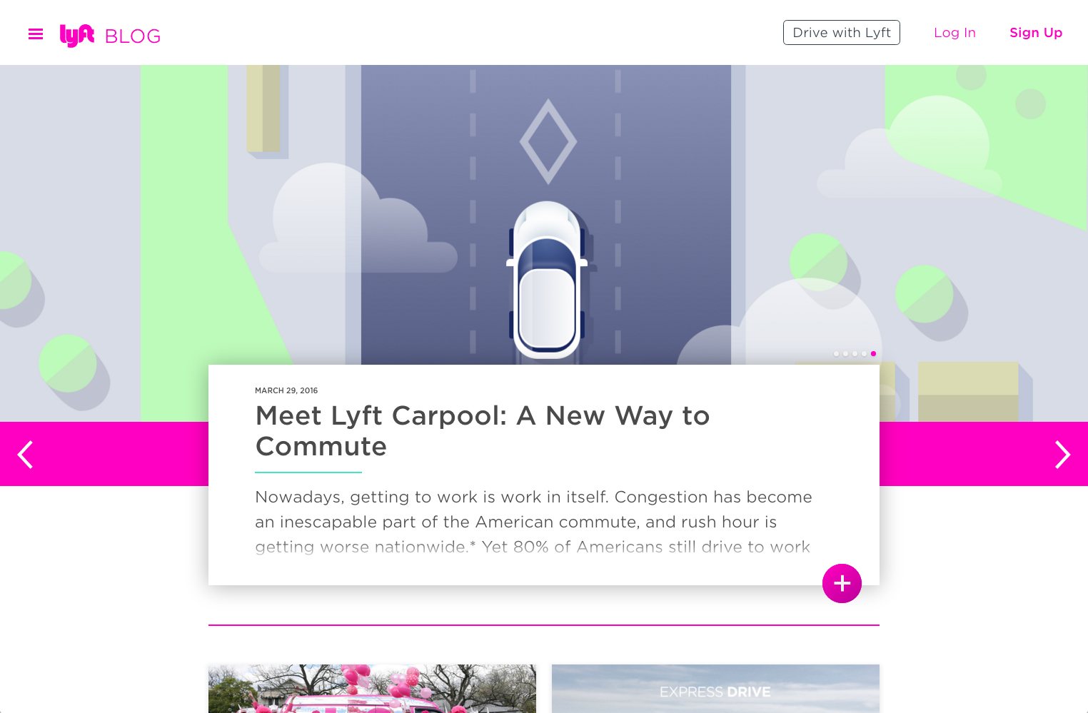 screenshot showing a live demo of Lyft site created using Squarespace
