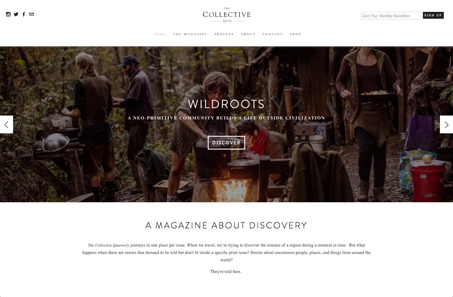 screenshot showing a live demo of The Collective Quarterly site created using Squarespace