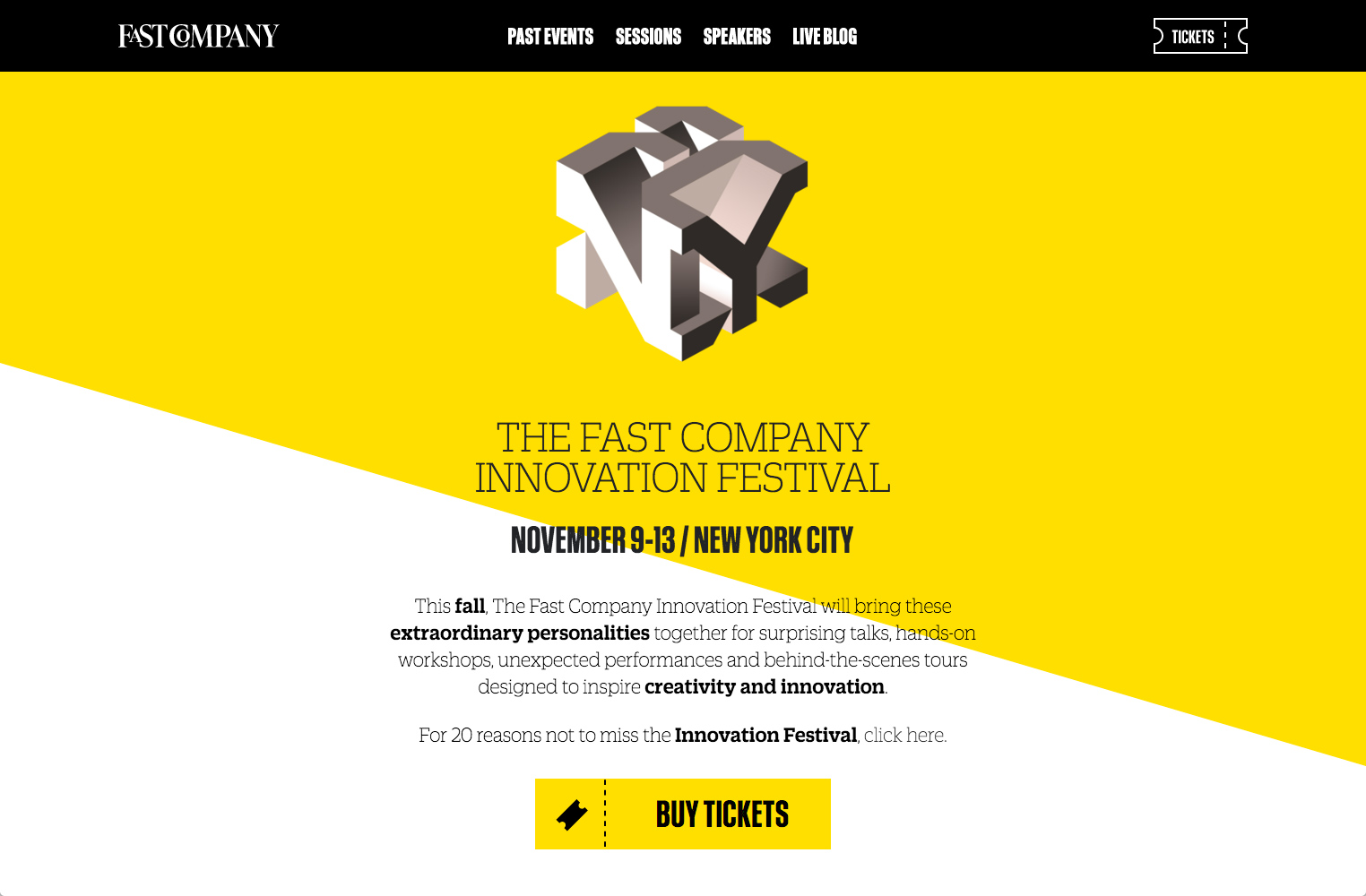 screenshot showing a live demo of Fast Company Innovation Festival site created using Squarespace