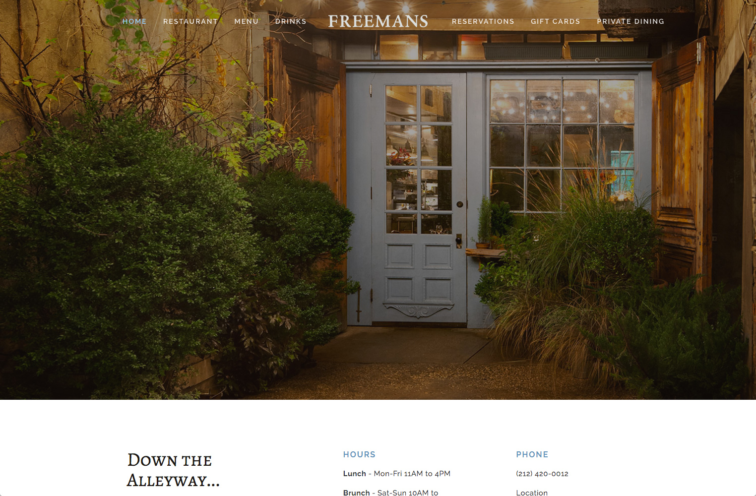 screenshot showing a live demo of >Freeman's Restaurant site created using Squarespace