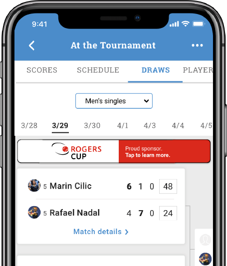 SCORES, SCHEDULE, DRAWS & FOLLOW-A-PLAYER