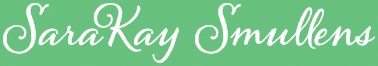 The logo for SaraKay Smullens written in a cursive similar to handwriting.