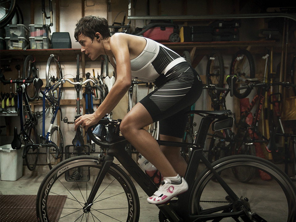 Cyclist Working Out on an Indoor Trainer
