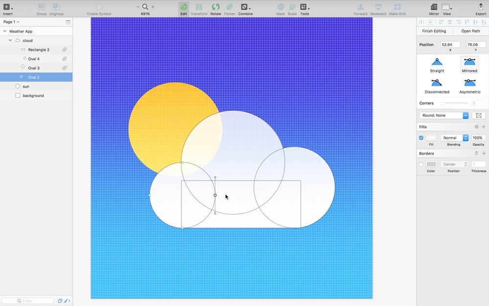 Screenshot: Combining Vector Shapes