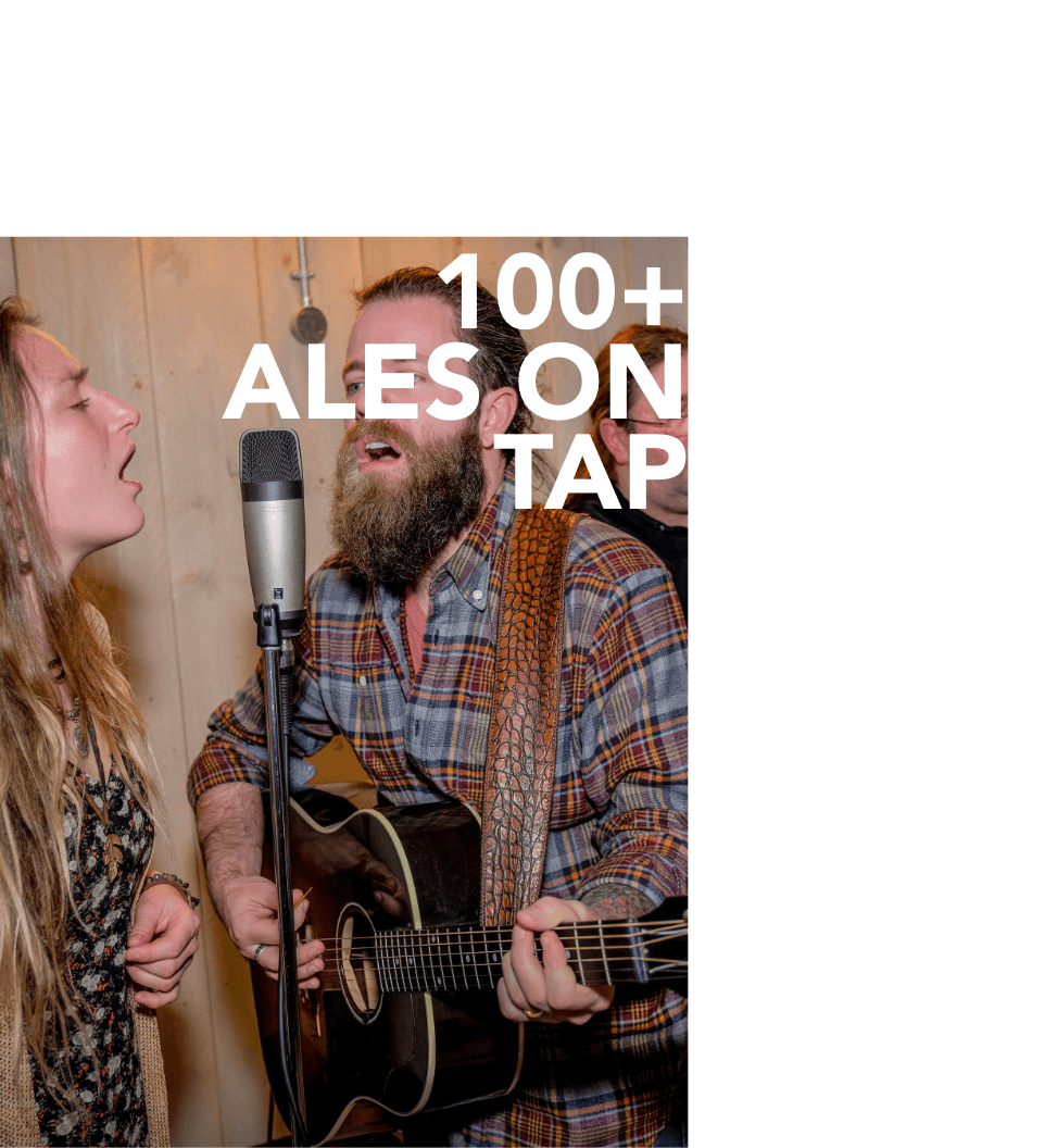 Text saying 100+ beers on tap over a man and woman singing into a microphone.