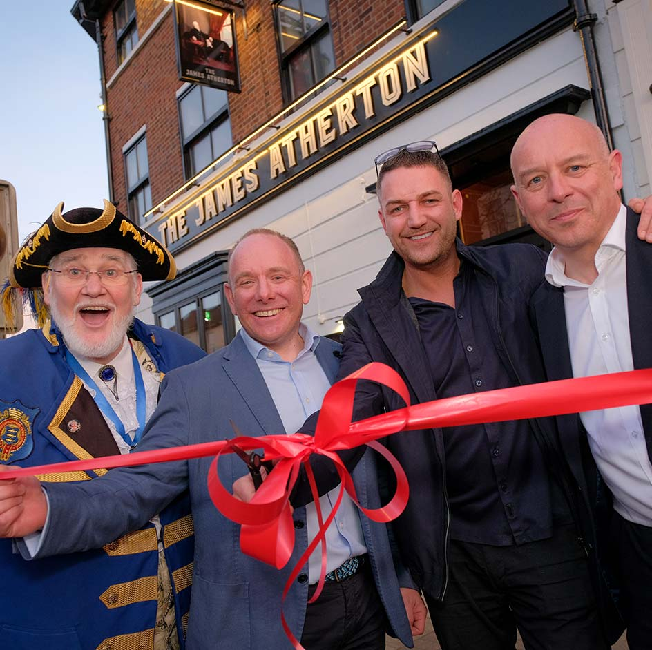 Ribbon cutting ceremony for Victoria Quarter in front of The James Atherton